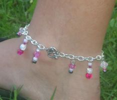 Pink Beaded Anklet by merigreenleaf