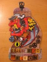 Steampunk Badge: The Red Dragon by TheCrochetDragon