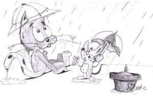 Cat and Mouse in the rain by spongefox