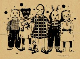 kids in masks by maskpicasso