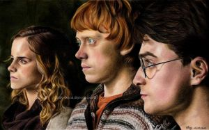''The Harry Potter trio'' by cindy-drawings