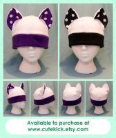 White Purple Black Spotted Ear Cat Hats by cutekick