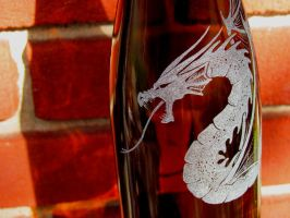 Amber Glass Dragon Bottle by MadEtcha