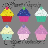 Kawaii Cupcake Digital Origami Paper Collection 1 by graphicalCatharsis