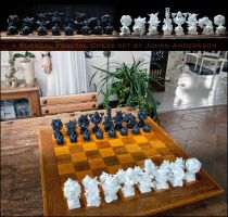 Surreal Fractal 3D printed Chess - The SET - IRL by MANDELWERK