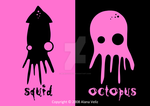 squid and octopus by BlueOctopus