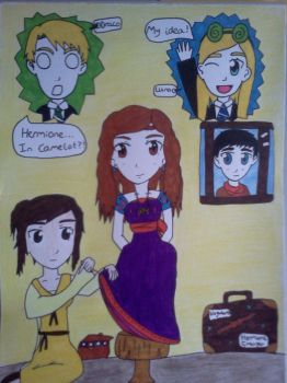 Hermione's Dress Competition Feat Merlin by Hexed-honey