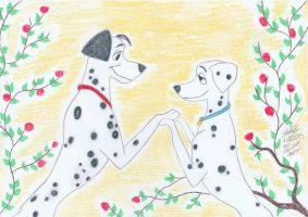 101 Dalmatians Pongo and Perdy by ChristinePresley