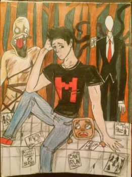 Markiplier slenderman and amnesia by The-11thDoctor