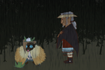 Nim and Oda Zook in the rain color by Teela-B