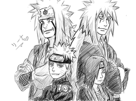 Jiraiya, Naruto and Nagato by KimxLee