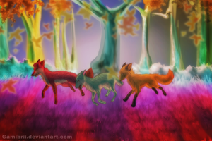 Foxes in a Run by Gamibrii