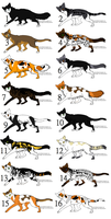 Warrior Cat Adoptables w00t by WesternHooves