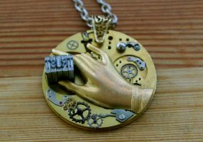 Steampunk Letterpress Pendant by SleeplessStoryteller