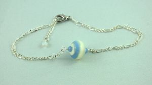 Adjustable Blue and Cream Anklet by michelleaudette