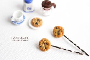 Chocolate Chip Cookies Hairpin Handmade Accessory by LaNostalgie05