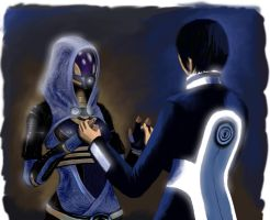 Tali and Shepard 03 by pinkfrog