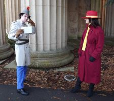 Carmen Sandiego confronted by Inspector Gadget by coffeelunatic