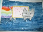 Nyan Cat watercolor by TheArtisticPony