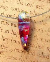 Pink Drop Bail Free Fused Glass Pendant by FusedElegance