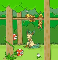 Leafeon in Forest of Illusion by sunnyfish