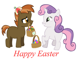 Button Mash And Sweetie Belle Easter by T-Shadow-Dragon