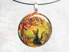 Autumn Black Cat Pendant by sobeyondthis