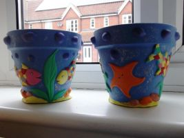 Ocean Flower Pots (2nd pair) by Anita-Sanderson