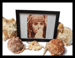 Jack Sparrow - Cross Stitch 2 Framed by shingorengeki