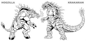 Hogzilla and Krakarian INKED by kaijuverse