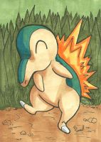 Cyndaquill Sketch Card by ibroussardart
