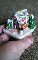 teeny tiny gingerbread house  by ClayMakes