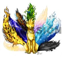 Elemental Ninetails comission by soulspoison