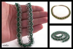 Green Dragonscale Necklace by coldfirecustoms