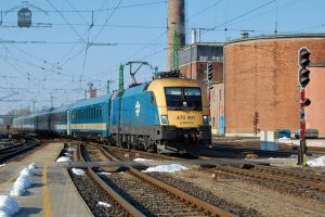 470 001 with the Wiener Walzer EN in Gyor station by morpheus880223