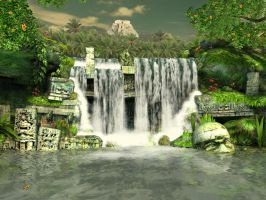 Mayan waterfall background 1 by indigodeep
