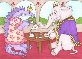 Prince Elephant and Princess Stegosaurus for Lexa by Allison-beriyani