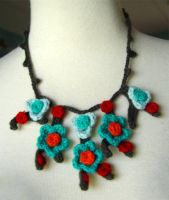 crochet red turquoise necklace by meekssandygirl