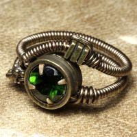 Chrome Diopside Steampunk Ring by CatherinetteRings