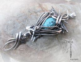 Spiderweb Turquoise Wire Wrap Pendant by SuziMidnight