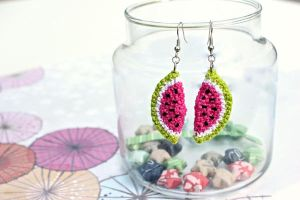 Kawaii Miniature Amigurumi Watermelon Earrings by SkySinger92