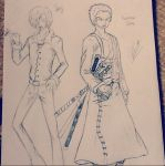 Sanji and Zoro by Insanelilgirl
