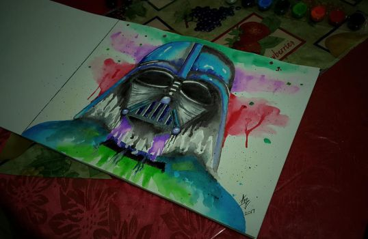 Watercolor Darth Vader.  by annqr