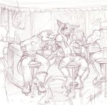 Sketch commission - Bar time by pupukachoo