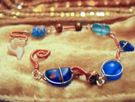 Blue Sea Glass and Copper by Feeriee13