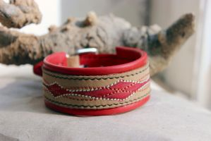 Leather Bracelet  Sound Waves by dogdreams64