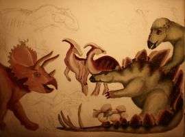 new project: dinosaurs-children-painting - step 2 by barbko