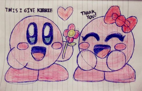 Kirby Give Flower for Girlfriends by cuddlesnam