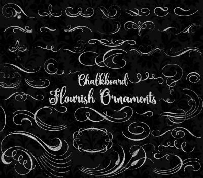 Chalkboard Flourish ornaments clipart by OriginsDigitalCurio