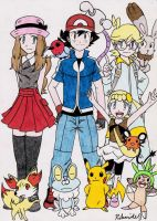 Pokemon XY Main Cast by Rohanite